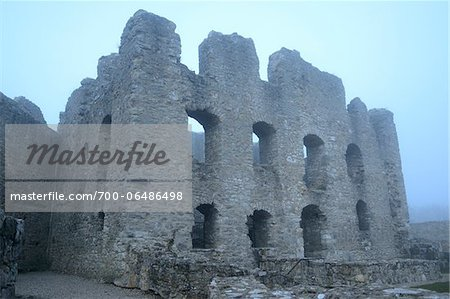 Ruins of Wolfstein Castle in Fog, Wolfstein, near Neumarkt in der Oberpfalz, Bavaria, Germany Stock Photo - Rights-Managed, Image code: 700-06486498