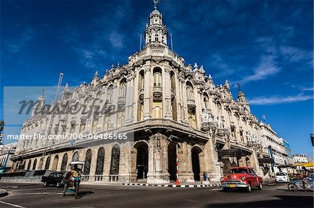 Traffic Passing by Great Theatre of Havana (Gran Teatro de La Habana) with Bright Blue Sky, Havana, Cuba Stock Photo - Rights-Managed, Image code: 700-06486565