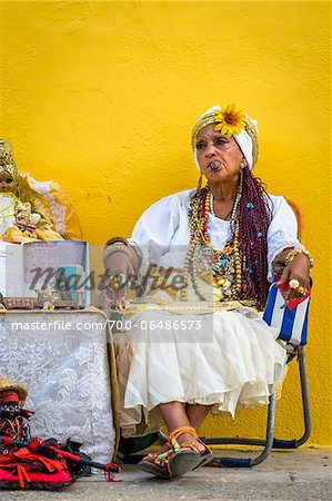 Senora Habana, a fortune teller in Plaza de la Catedral, Havana, Cuba Stock Photo - Rights-Managed, Image code: 700-06486573