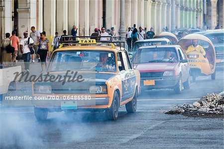 Exhaust Fumes and Taxi in Traffic, Havana, Cuba Stock Photo - Rights-Managed, Image code: 700-06486580