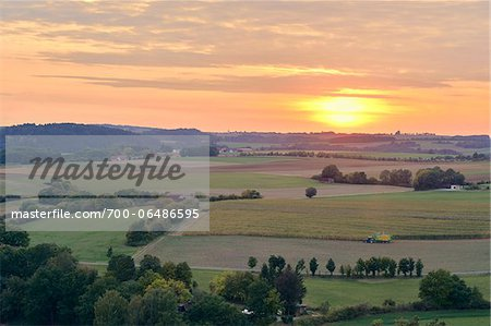 Overview of Farm Fields at Sunset, Schanzberg, Upper Palatinate, Bavaria, Germany Stock Photo - Rights-Managed, Image code: 700-06486595