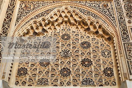 Detail of Intricate Architectural Carvings, Bahia Palace, Medina, Marrakesh, Morocco, Africa Stock Photo - Rights-Managed, Image code: 700-06505749