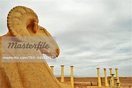 Close-Up of Stone Ram on Movie Set at Atlas Studios, Ouarzazate, Morocco, Africa Stock Photo - Rights-Managed, Image code: 700-06505757