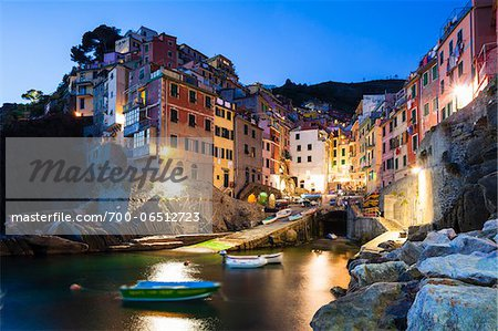Clifftop village of Riomaggiore at dusk, Cinque Terre National Park, UNESCO World Heritage Site, Liguria, Italy Stock Photo - Rights-Managed, Image code: 700-06512723