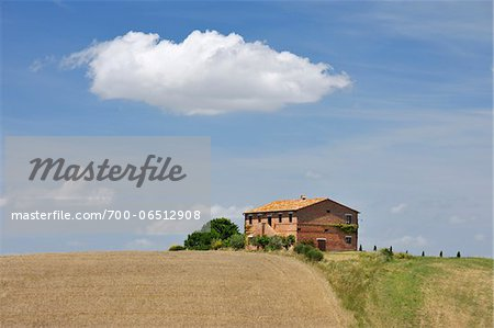 Tuscany Countryside with Farmhouse in the Summer, San Quirico d'Orcia, Province of Siena, Tuscany, Italy Stock Photo - Rights-Managed, Image code: 700-06512908