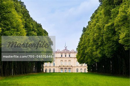 View of New Herrenworth Palace through Trees at Herrenchiemsee, Herreninsel, Chiemsee, Oberbayern, Bavaria, Germany Stock Photo - Rights-Managed, Image code: 700-06531646