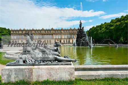 Statue and Water Fountain in front of New Herrenworth Palace, Herrenchiemsee, Herreninsel, Chiemsee, Oberbayern, Bavaria, Germany Stock Photo - Rights-Managed, Image code: 700-06531649