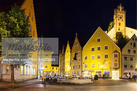 Clock Tower of Hohes Schloss on Reichenstrasse, Fussen, Swabia, Bavaria, Germany Stock Photo - Rights-Managed, Image code: 700-06531655