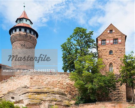 Low Angle View of Nuremberg Imperial Castle with Blue Sky and Clouds, Kaiserburg, Nuremberg, Middle Franconia, Bavaria, Germany Stock Photo - Rights-Managed, Image code: 700-06553330