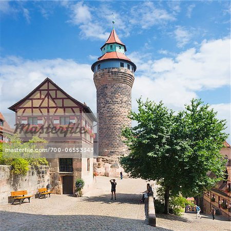 Tower at Nuremberg Imperial Castle Kaiserburg, Nuremberg, Middle Franconia, Bavaria, Germany Stock Photo - Rights-Managed, Image code: 700-06553343
