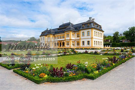 Veitshochheim Castle and Colorful Flower Beds in Garden, Wurzburg, Lower Franconia, Bavaria, Germany Stock Photo - Rights-Managed, Image code: 700-06553359