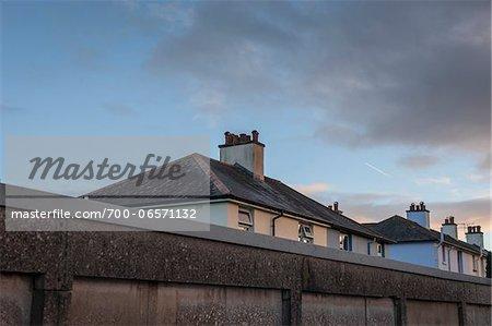 Roof tops of council houses, Totnes, South Hams, Devon, UK
