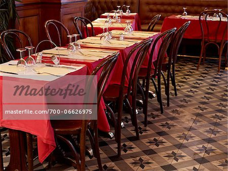 tables set with red tablecloths, wine glasses and cutlery in restaurant, Paris, France Stock Photo - Rights-Managed, Image code: 700-06626975