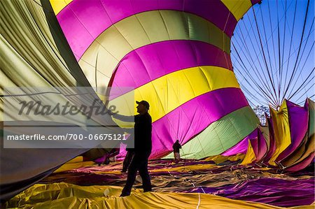 Deflating a hot air balloon near Pokolbin, Hunter Valley, New South Wales, Australia Stock Photo - Rights-Managed, Image code: 700-06675121