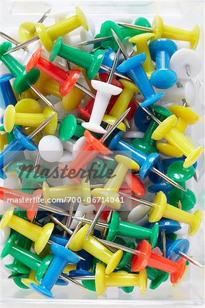 close-up of multi-colored push pins Stock Photo - Rights-Managed, Image code: 700-06714041