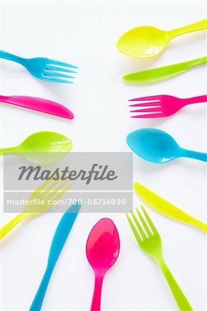 still life of colored cutlery Stock Photo - Rights-Managed, Image code: 700-06714090