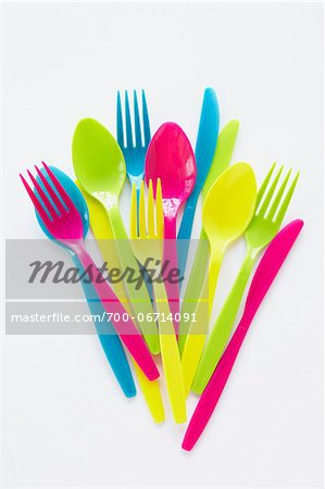 still life of colored plastic cutlery Stock Photo - Rights-Managed, Image code: 700-06714091