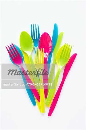 still life of colored plastic cutlery Stock Photo - Rights-Managed, Image code: 700-06714092