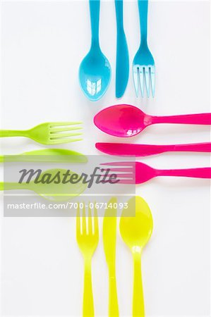 still life of colored plastic cutlery laid out in sets Stock Photo - Rights-Managed, Image code: 700-06714093