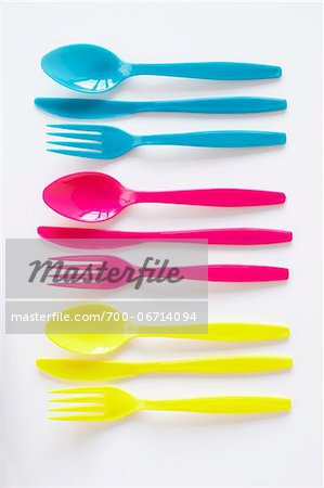still life of three sets of colored plastic cutlery Stock Photo - Rights-Managed, Image code: 700-06714094