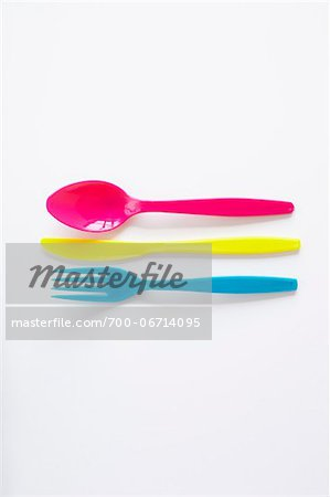 still life of colored plastic cutlery Stock Photo - Rights-Managed, Image code: 700-06714095