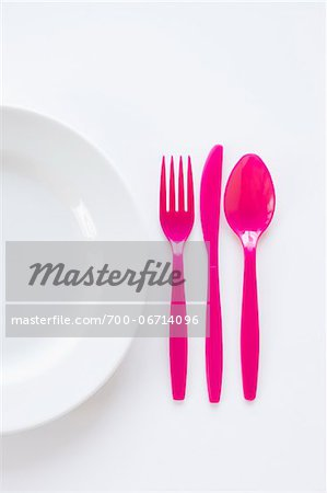 still life of pink cutlery beside plate Stock Photo - Rights-Managed, Image code: 700-06714096