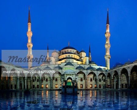 Turkey, Marmara, Istanbul, Blue Mosque, Sultan Ahmed Mosque, Courtyard at Dawn Stock Photo - Rights-Managed, Image code: 700-06732755