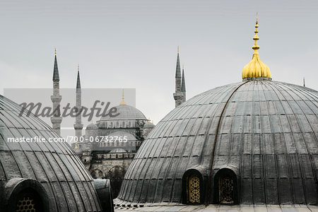 Turkey, Marmara, Istanbul, Blue Mosque, Sultan Ahmed Mosque, Close-Up of Rooftop Domes Stock Photo - Rights-Managed, Image code: 700-06732765