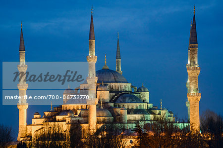 Turkey, Marmara, Istanbul, Blue Mosque, Sultan Ahmed Mosque at Dusk Stock Photo - Rights-Managed, Image code: 700-06732770