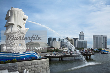 Merlion Park on Marina Bay in Singapore Stock Photo - Rights-Managed, Image code: 700-06773207