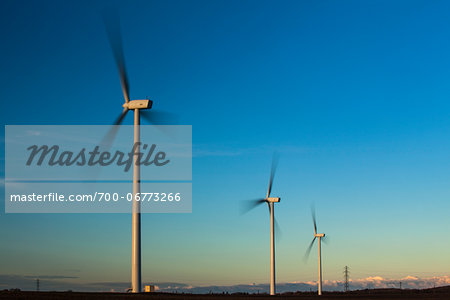 England, Northumberland, Lynemouth. Wind turbines / wind farm located near Ashington, owned and installation started by ScottishPower Renewables  in 2011 - Completed in 2012. Stock Photo - Rights-Managed, Image code: 700-06773266
