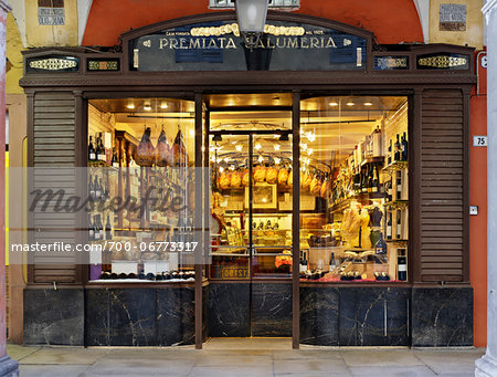 specialty meat storefront window, Modena, Italy Stock Photo - Rights-Managed, Image code: 700-06773317