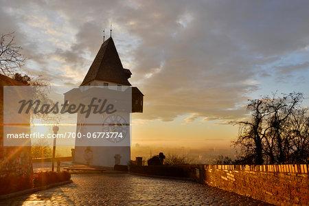 Uhrturm Clock Tower on Schlossberg Mountain Overlooking City at Early Morning, Graz, Styria, Austria