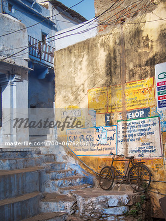 Bicycle on Staircase in Old Town Center, city of Bundi, India
