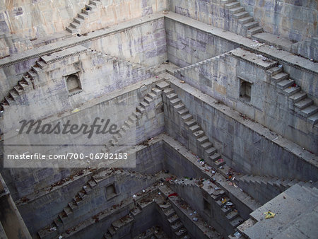 Twin Step Wells of Nagar Sagar water cistern in old town center, city of Bundi, India Stock Photo - Rights-Managed, Image code: 700-06782153