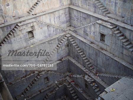 Twin Step Wells of Nagar Sagar water cistern in old town center, city of Bundi, India