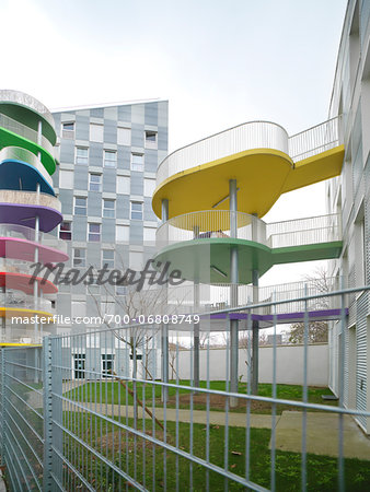 Contemporary Block Apartments with Colorful Patios, Paris, France Stock Photo - Rights-Managed, Image code: 700-06808749