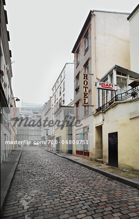 Hotels Lining Street in popular district of Montmartre in Paris, France Stock Photo - Rights-Managed, Image code: 700-06808751