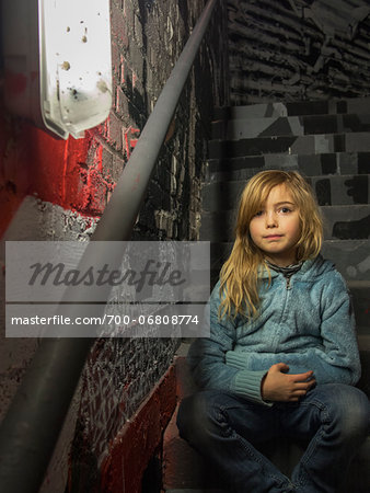 Young girl in stairwell of Palais de Tokyo, Paris, France Stock Photo - Rights-Managed, Image code: 700-06808774