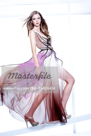 Young Woman Fashion Model Posing in Windblown Dress with Illustrated Embellisments Stock Photo - Rights-Managed, Image code: 700-06826414
