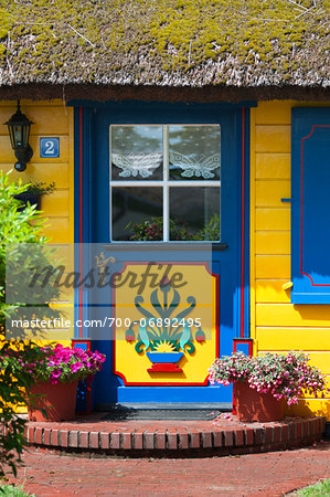 Traditional ornate door in Born, Fischland-Darss-Zingst, Coast of the Baltic Sea, Mecklenburg-Western Pomerania, Germany, Europe Stock Photo - Rights-Managed, Image code: 700-06892495