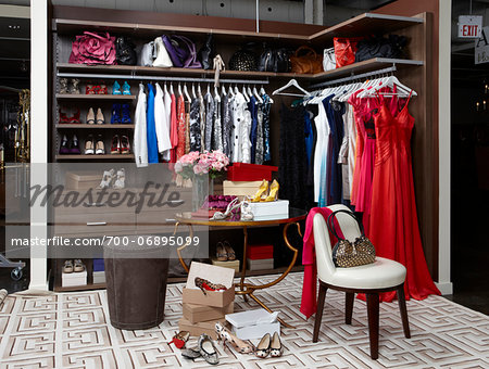 Women's closet / dressing room filled with clothing, handbags and shoes. Stock Photo - Rights-Managed, Image code: 700-06895099