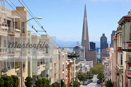 View of Transamerica Building and City Street from Nob Hill (Clay St.), San Francisco, California, USA Stock Photo - Rights-Managed, Image code: 700-06899697