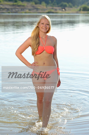 Portrait of Young Woman in Lake, Bavaria, Germany Stock Photo - Rights-Managed, Image code: 700-06936077