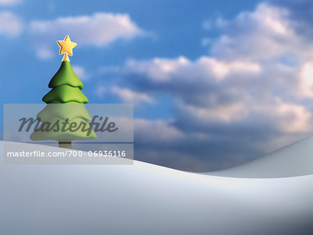 Illustration of Christmas tree against cloudy, blue sky, on snowy hill Stock Photo - Rights-Managed, Image code: 700-06936116