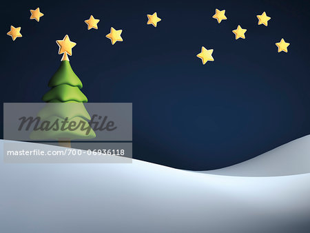 Illustration of Christmas tree against starry, night sky, on snowy hill Stock Photo - Rights-Managed, Image code: 700-06936118