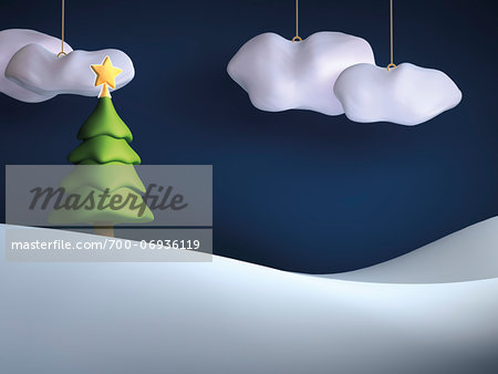 Illustration of Christmas tree on snowy hill with hanging clouds in sky Stock Photo - Rights-Managed, Image code: 700-06936119