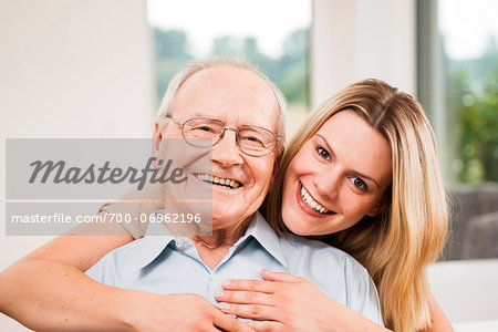 Portrait of Young Woman and Senior Man, Mannheim, Baden-Wurttemberg, Germany Stock Photo - Rights-Managed, Image code: 700-06962196