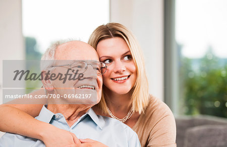 Portrait of Young Woman and Senior Man, Mannheim, Baden-Wurttemberg, Germany Stock Photo - Rights-Managed, Image code: 700-06962197
