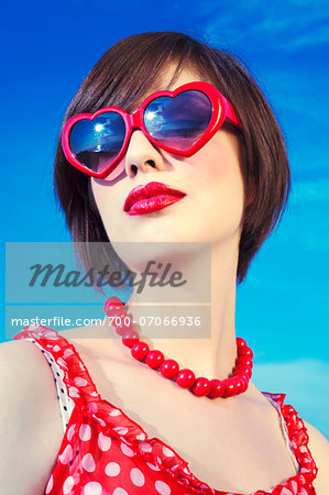 Portrait of youn woman in retro clothing, Italy Stock Photo - Rights-Managed, Image code: 700-07066936